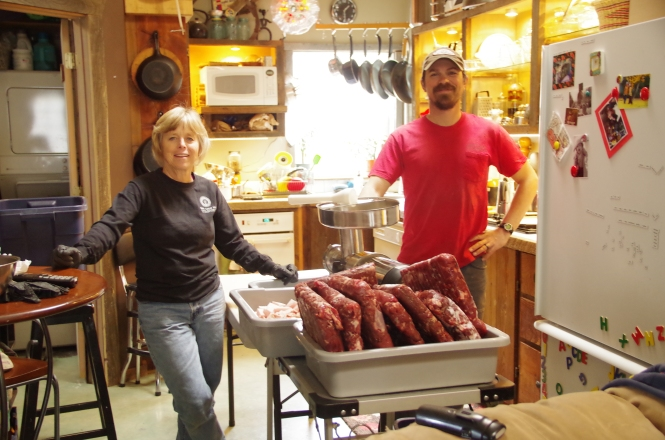 Jeremy and Lou Ann getting ready to start in on the first phase of meat grinding.